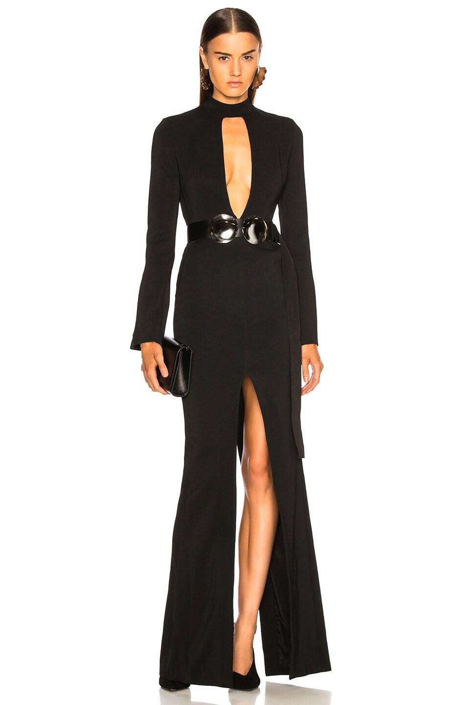 Image 1 of David Koma Front Split Gown in Black