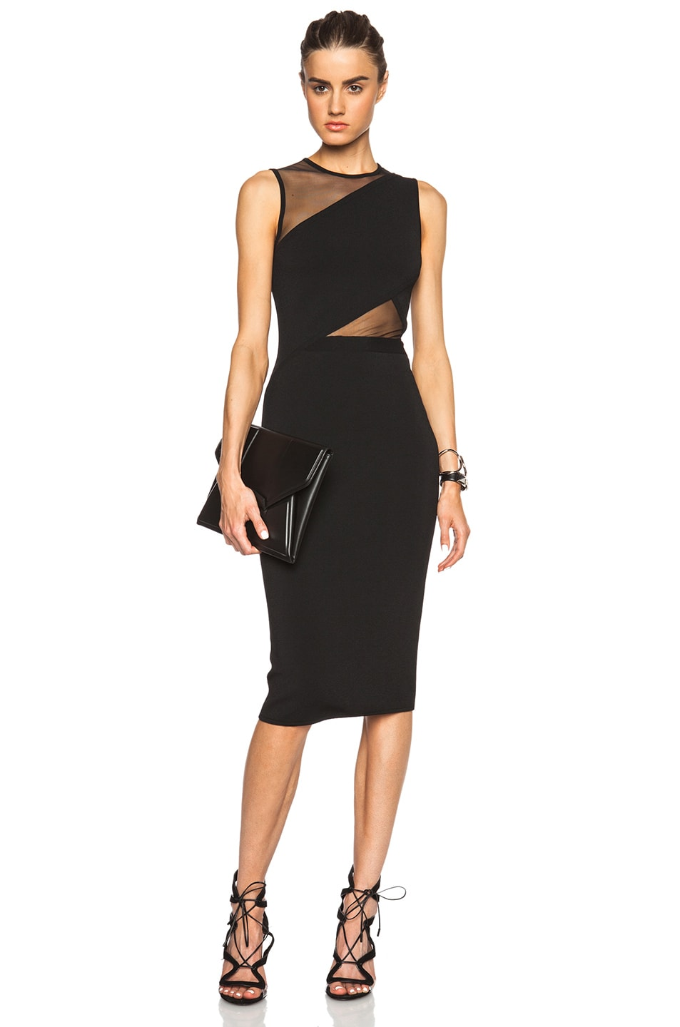 3b3b1424fc Image 1 of David Koma Sleeveless Net Cutout Pencil Dress in Black