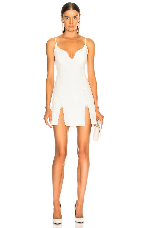 Image 1 of David Koma Crystal Mini Dress in White