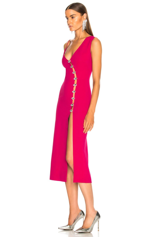 Image 3 of David Koma Side Slit Midi Dress in Fuchsia & Silver