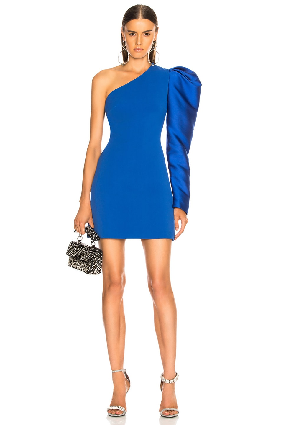 Image 1 of David Koma Gigot Sleeve Mini Dress in Blue