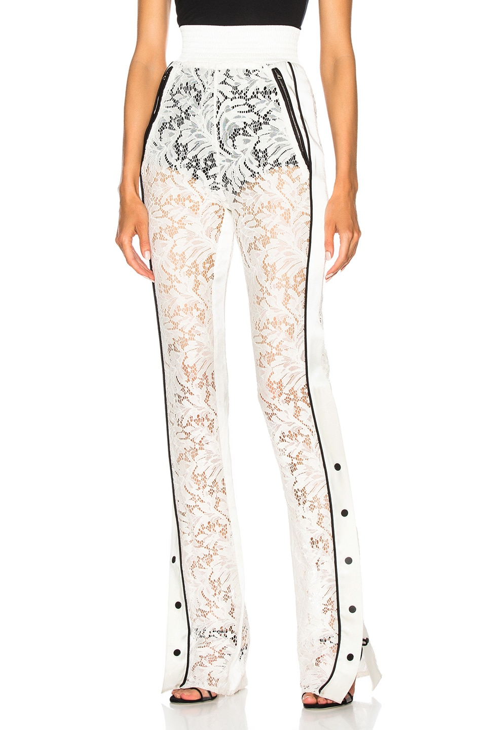 Image 1 of David Koma Side Snap Lace Trouser Pants in White & Black