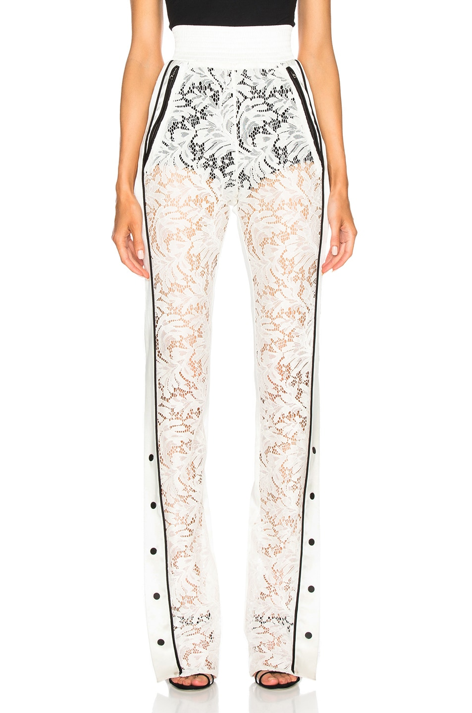Image 2 of David Koma Side Snap Lace Trouser Pants in White & Black