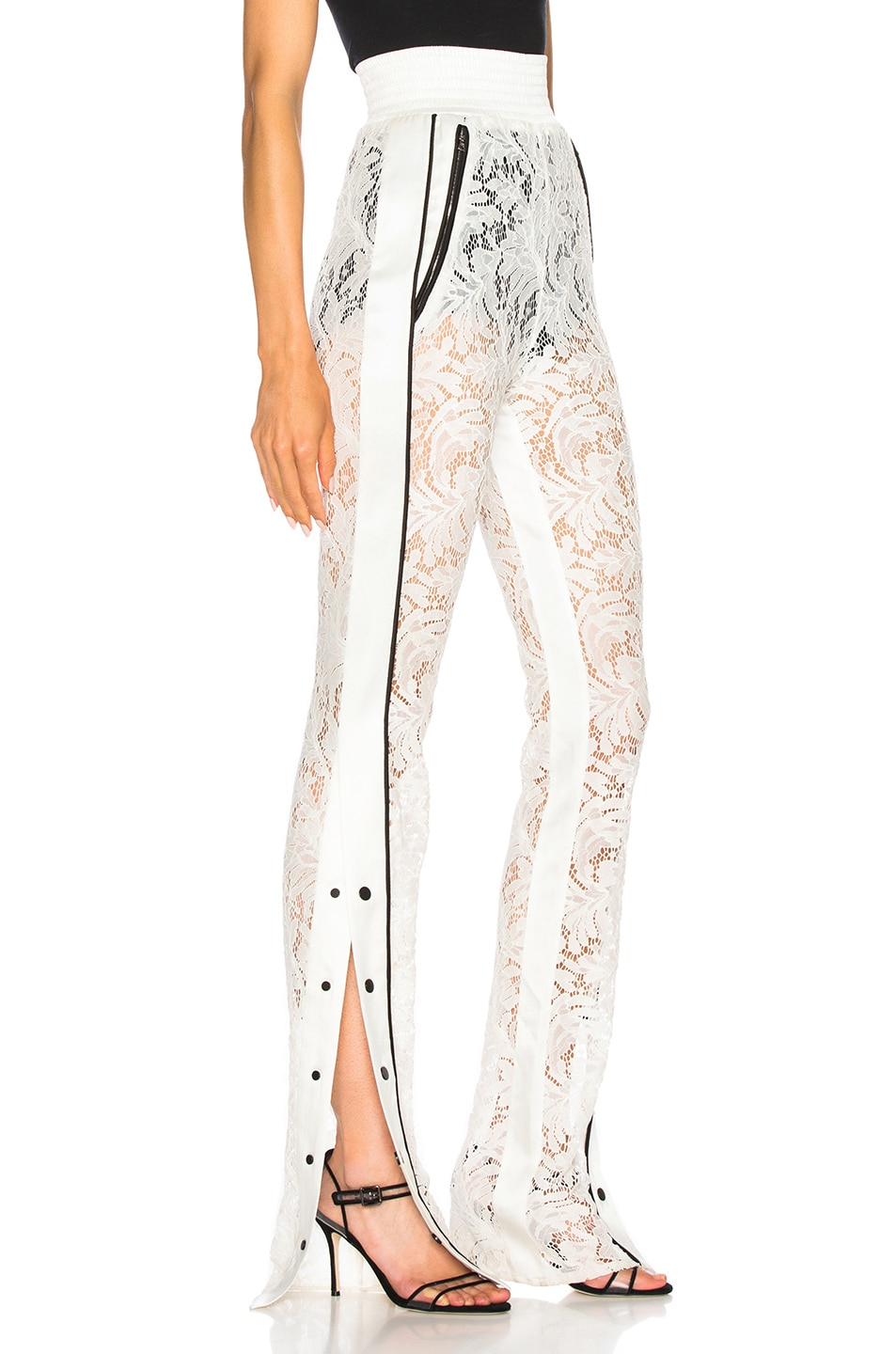 Image 3 of David Koma Side Snap Lace Trouser Pants in White & Black