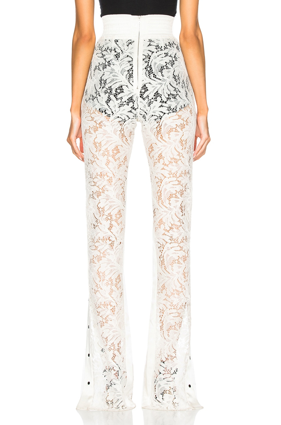 Image 4 of David Koma Side Snap Lace Trouser Pants in White & Black