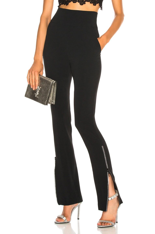 Image 1 of David Koma Crystal Zip High Waisted Pant in Black