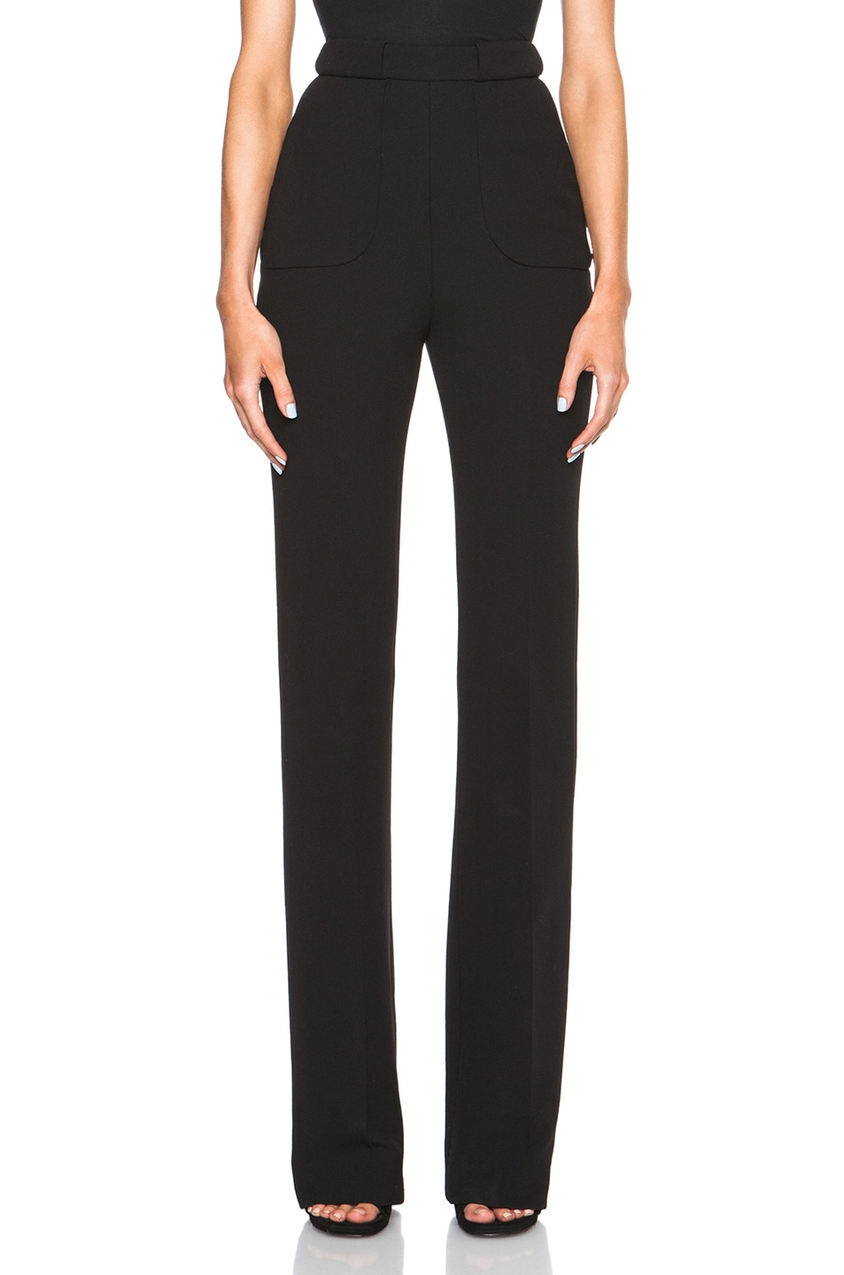 Image 1 of David Koma High Waisted Flare Trousers in Black