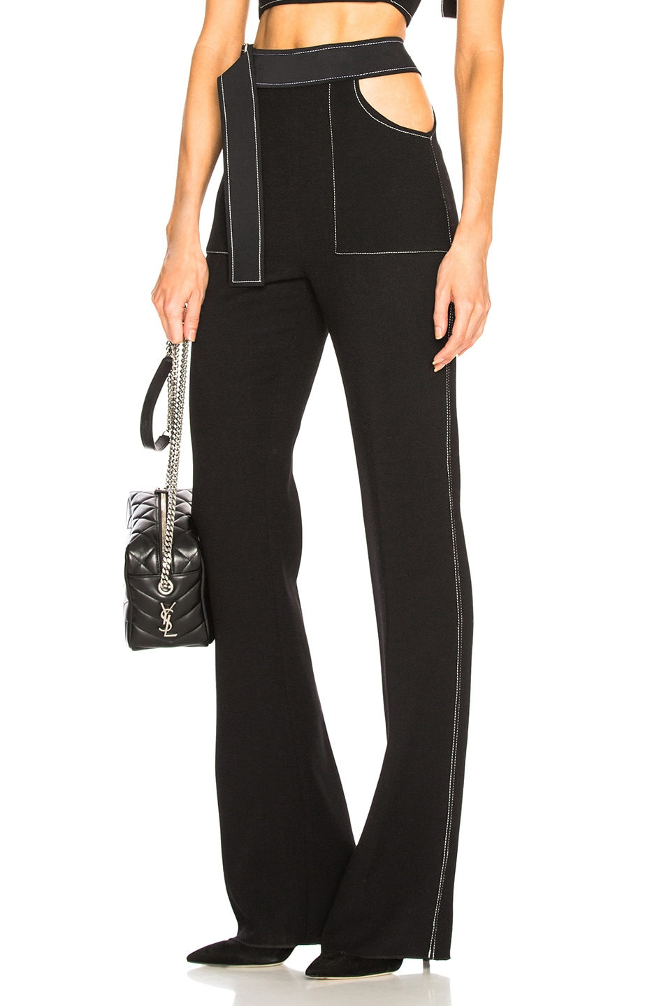 DAVID KOMA Contrast-Trim Flared Trousers in Black