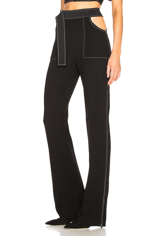 Image 3 of David Koma Contrast Stitching Waistband Cutout Trousers in Black & White