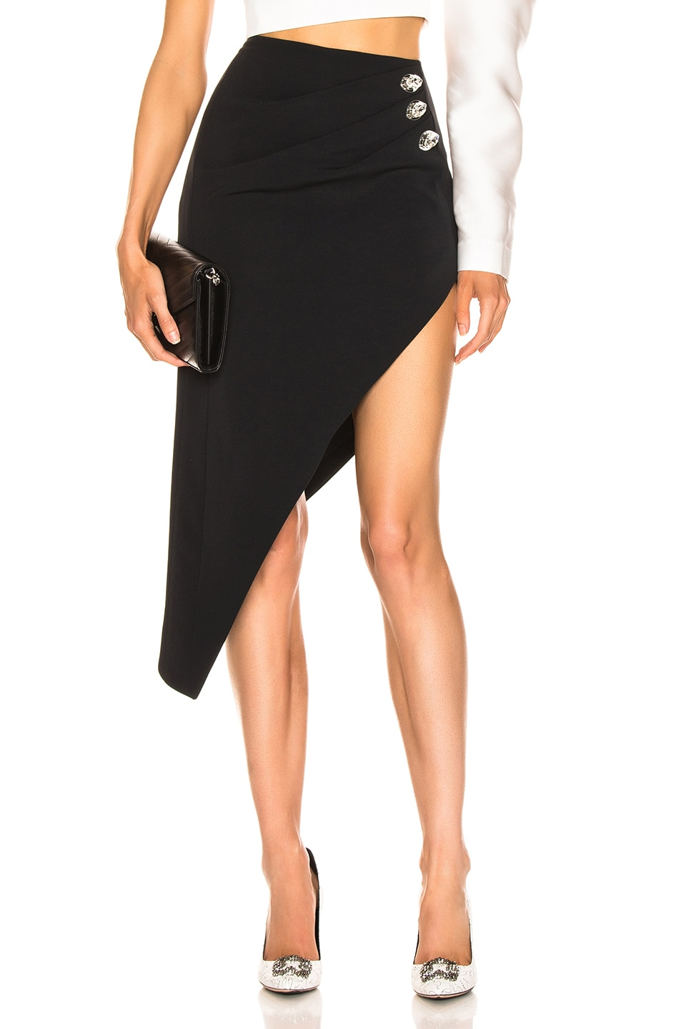 Image 1 of David Koma Ruched Pencil Skirt in Black & Silver