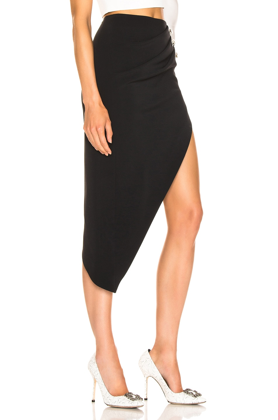Image 2 of David Koma Ruched Pencil Skirt in Black & Silver