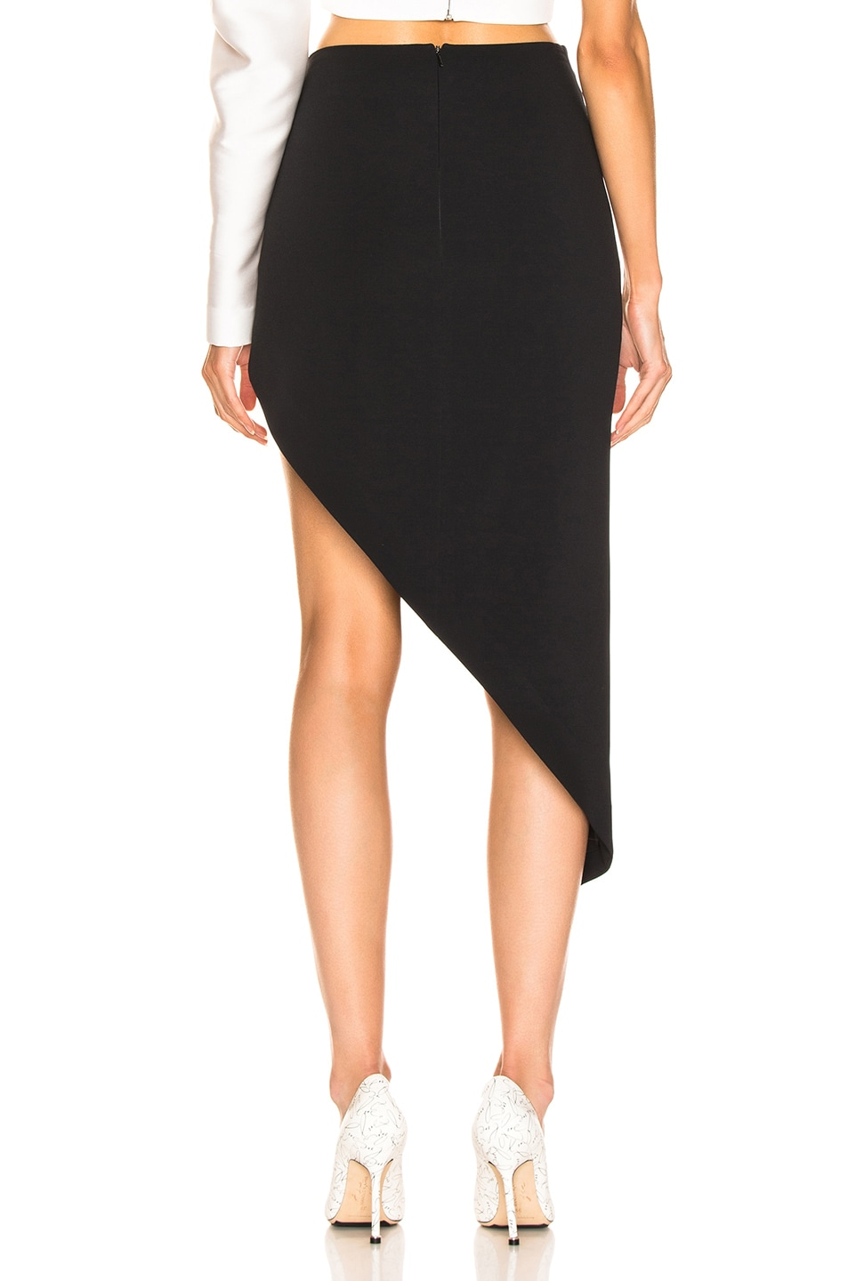 Image 4 of David Koma Ruched Pencil Skirt in Black & Silver