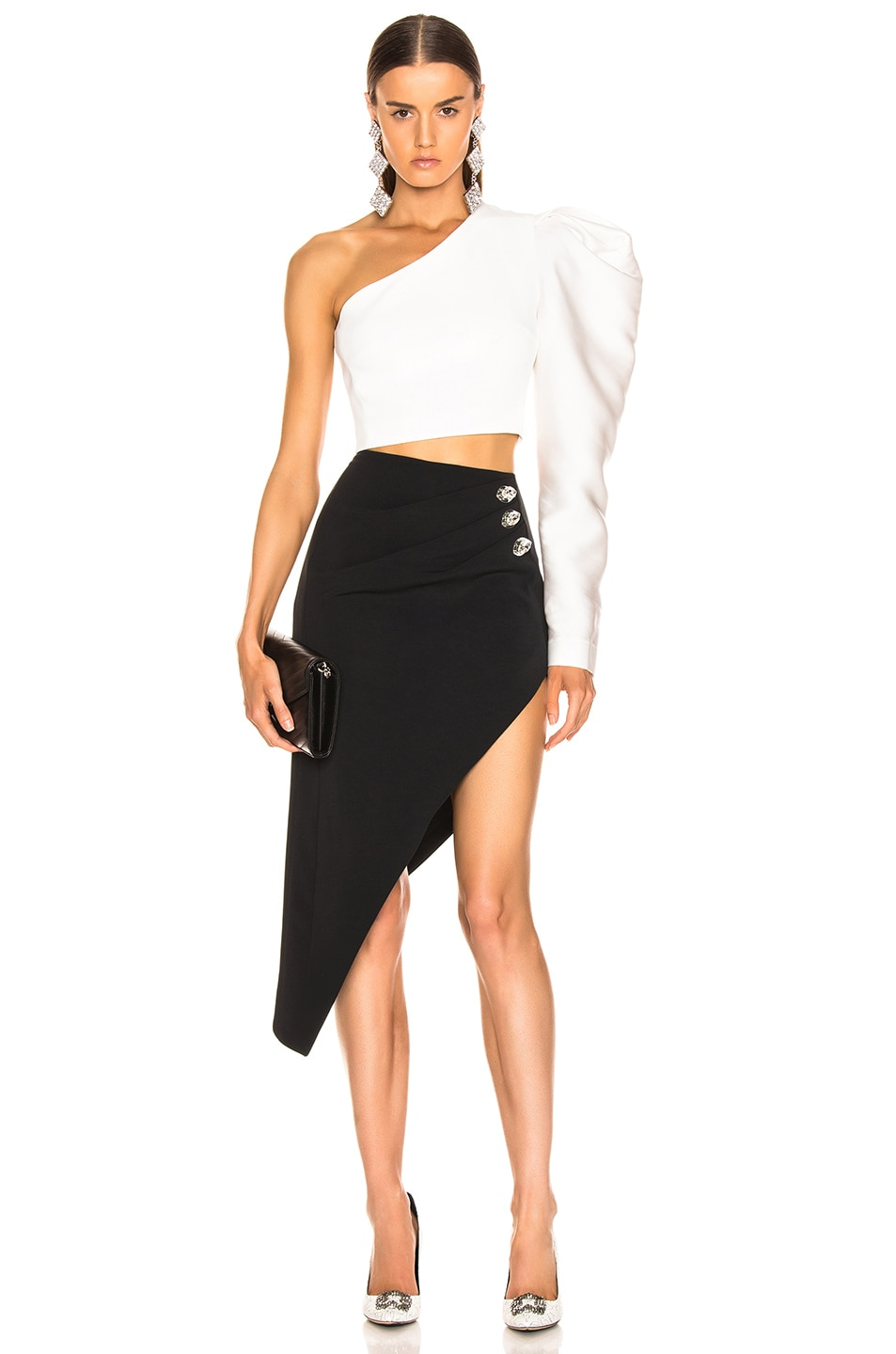 Image 5 of David Koma Ruched Pencil Skirt in Black & Silver