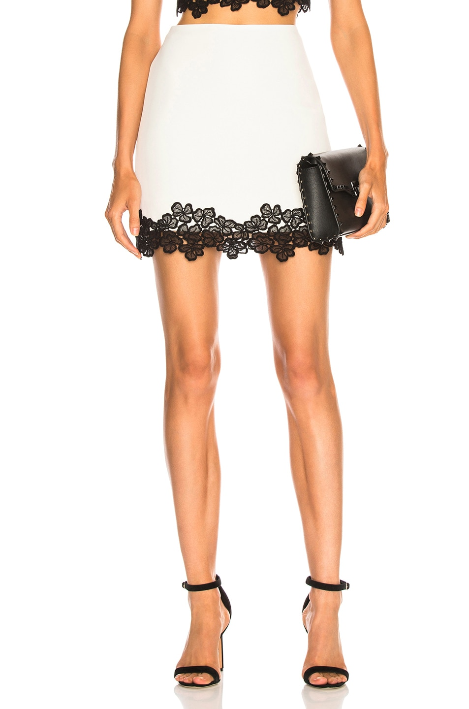 Image 1 of David Koma Lace Trim Mini Skirt in White & Black