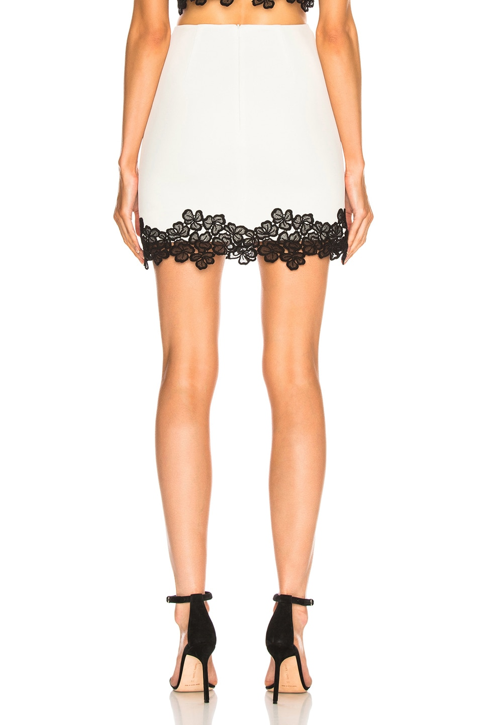 Image 3 of David Koma Lace Trim Mini Skirt in White & Black