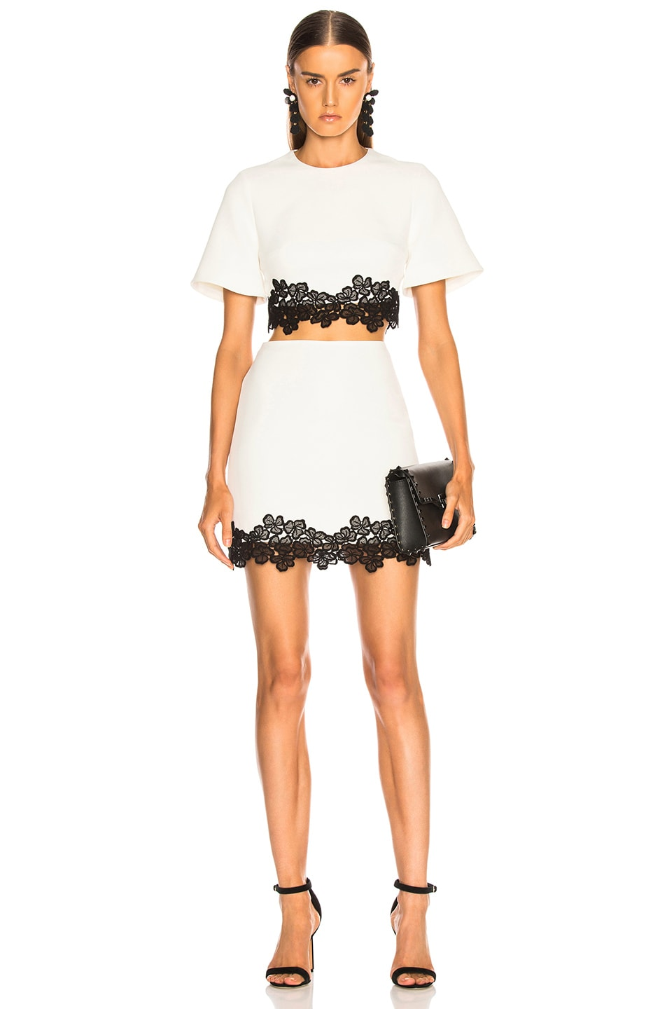 Image 4 of David Koma Lace Trim Mini Skirt in White & Black