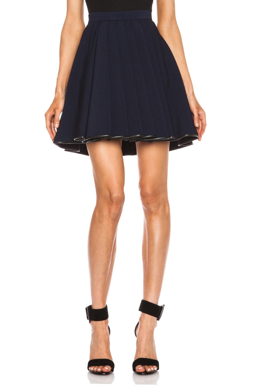 Image 1 of David Koma Ruffled Jersey Acetate Skirt in Black & Blue