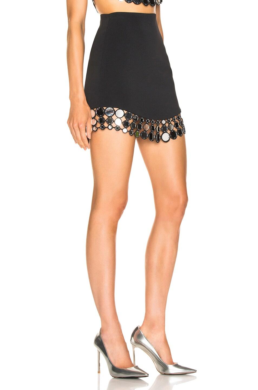 Image 2 of David Koma Circle Embellished Mini Skirt in Black & Silver