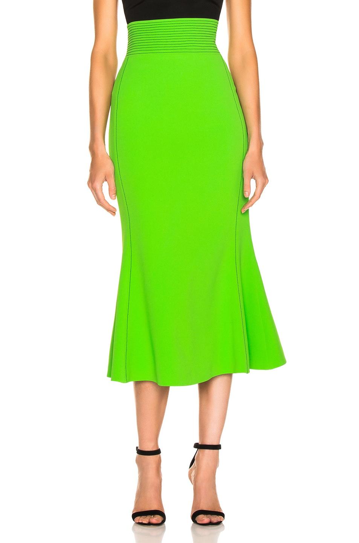 Image 1 of David Koma Flared Skirt in Green & Black