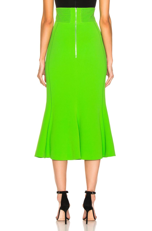 Image 3 of David Koma Flared Skirt in Green & Black