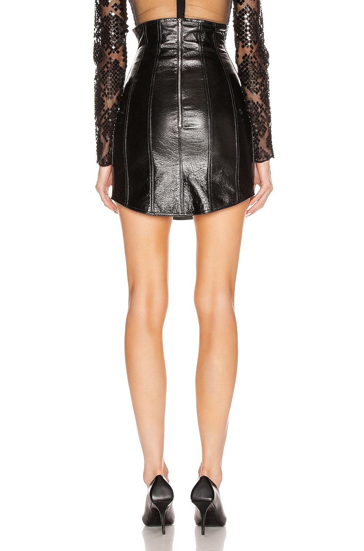 Image 3 of David Koma Corset High Waist Leather Skirt in Black