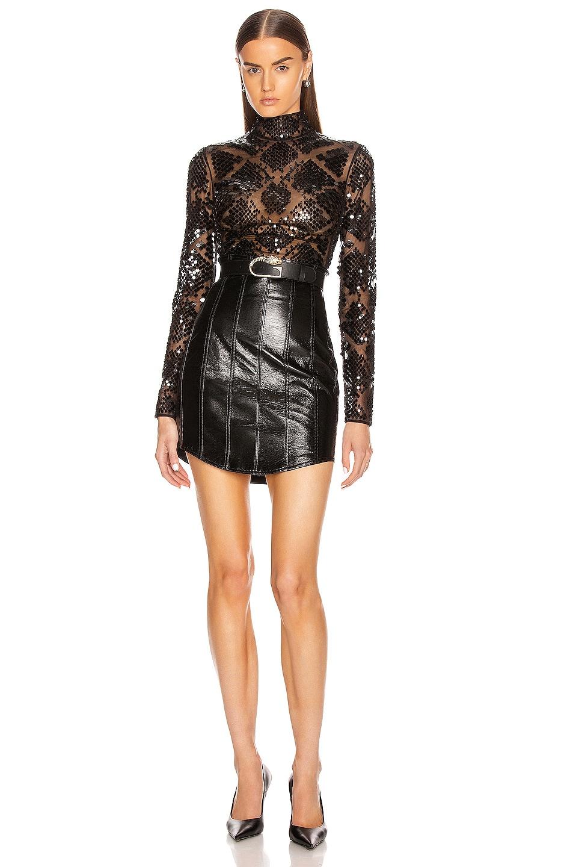 Image 4 of David Koma Corset High Waist Leather Skirt in Black