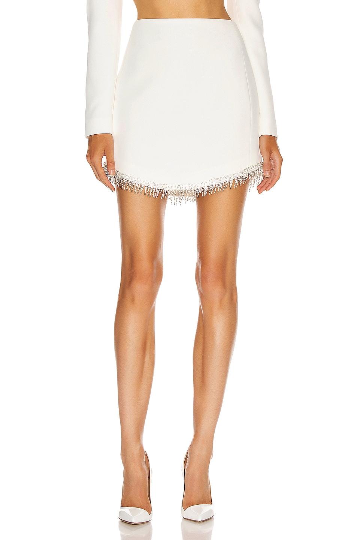 Image 1 of David Koma Crystal Chain Mini Skirt in White & Silver