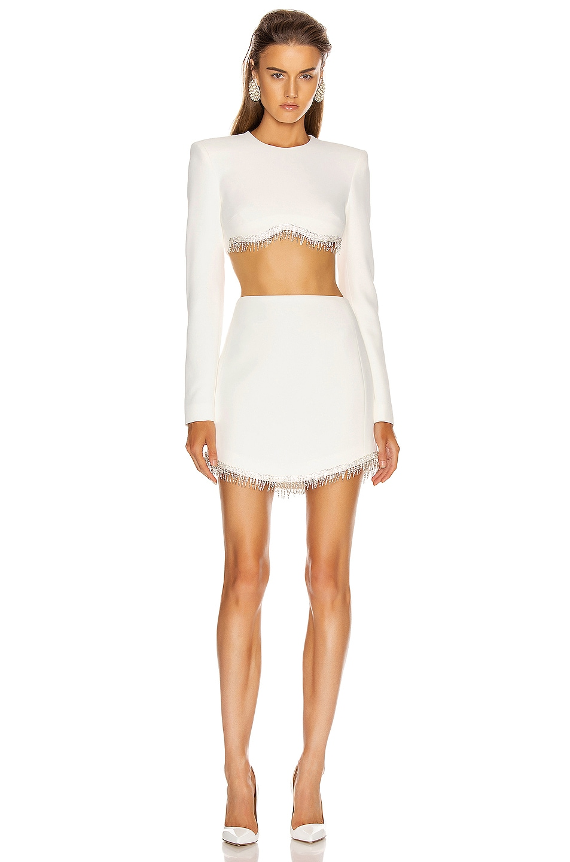 Image 4 of David Koma Crystal Chain Mini Skirt in White & Silver