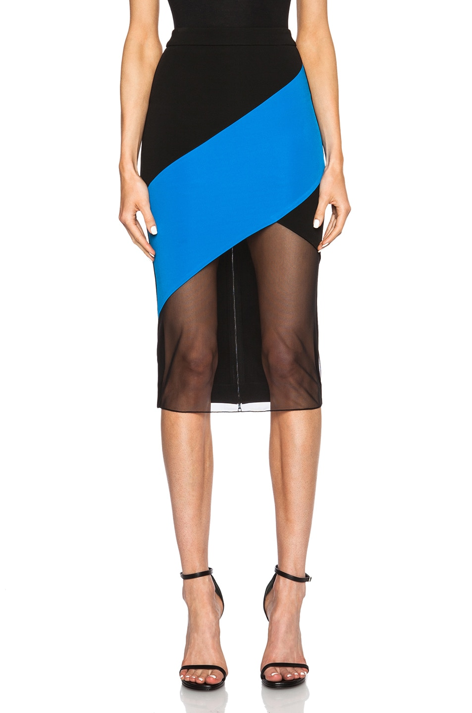 Image 1 of David Koma Paneled Net Hem Pencil Skirt in Black & Blue
