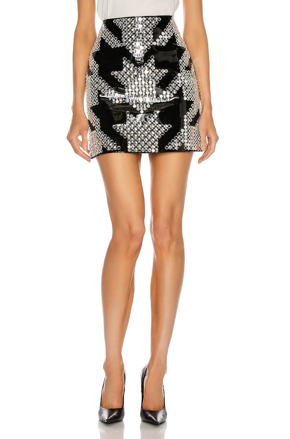 Image 1 of David Koma Oversized Houndstooth Leather Mini Skirt in Black & Silver