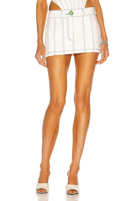 Image 1 of David Koma Topstitch Mini Skirt in White