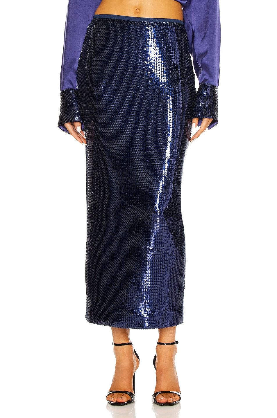 Image 1 of David Koma Sequin Pencil Skirt in Blue