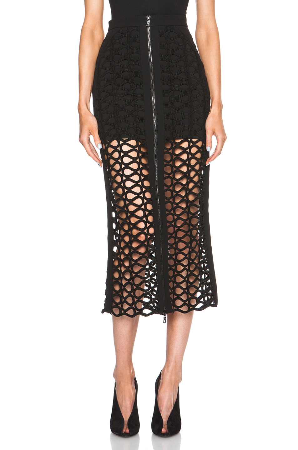 Image 1 of David Koma Front Zip Lace Overlay Skirt in Black