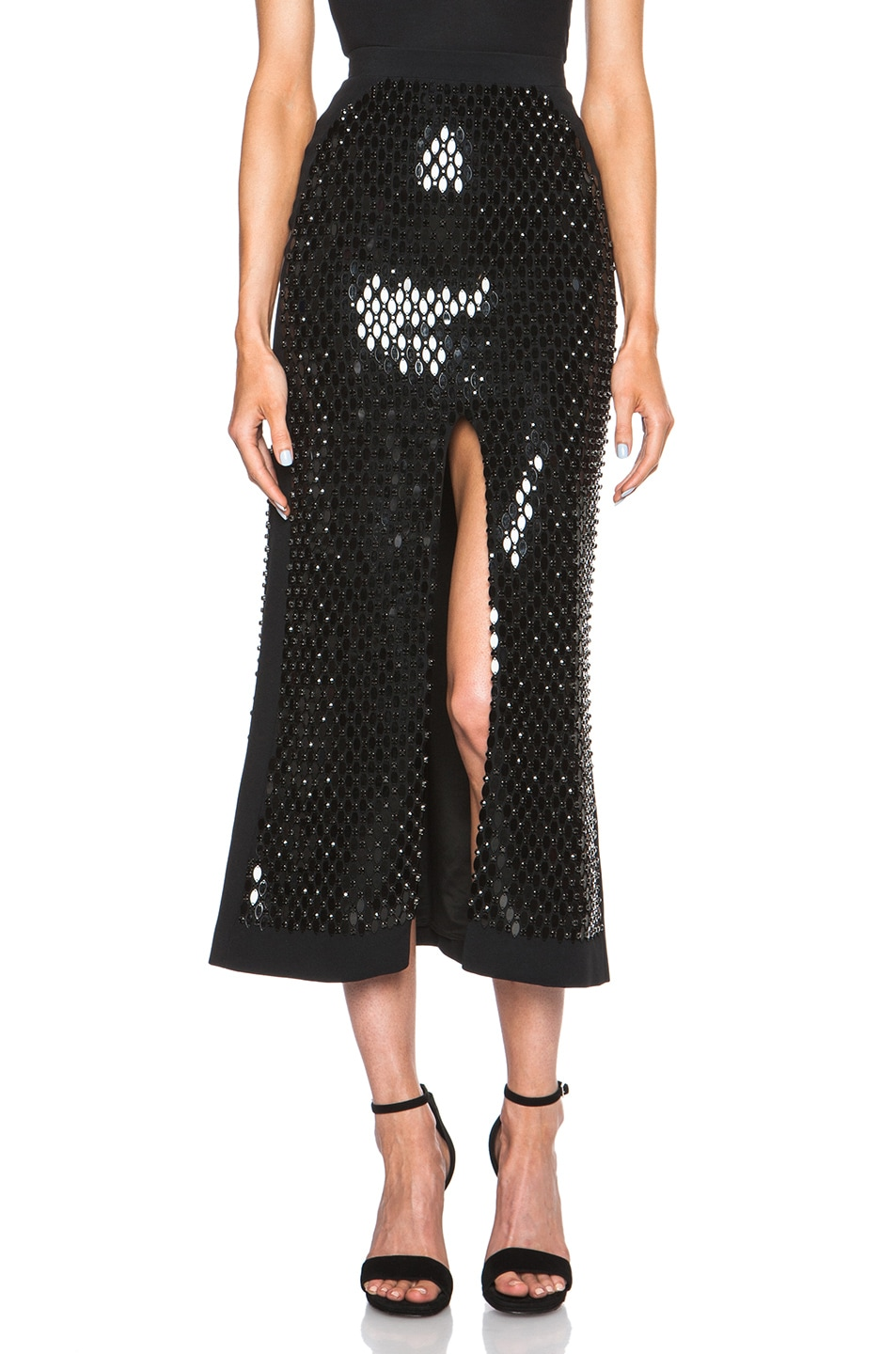 Image 1 of David Koma Front Split Mirror & Crystals Embroidered Skirt in Black