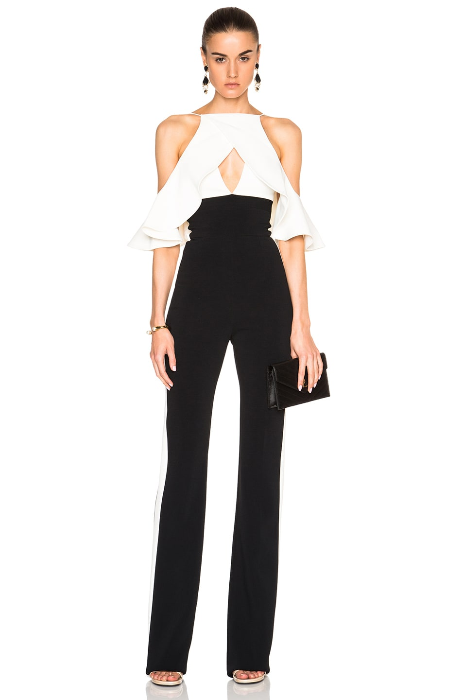 605ccaa019bd Image 1 of David Koma Shoulder Ruffle Jumpsuit in Black   White