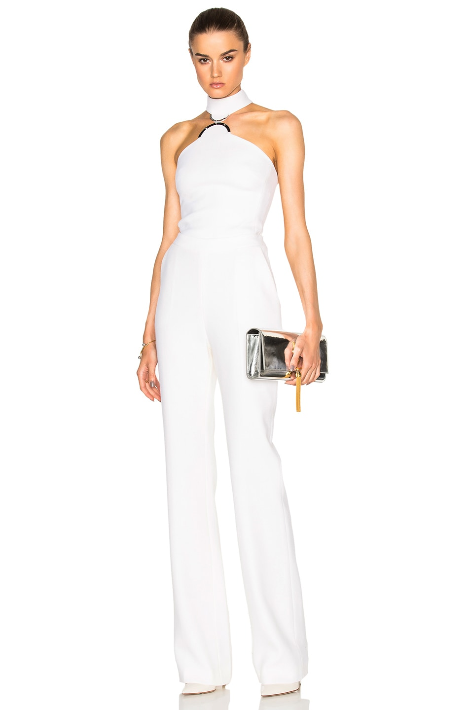 a1d950ec5a6 Image 1 of David Koma Halter Neck Jumpsuit in White