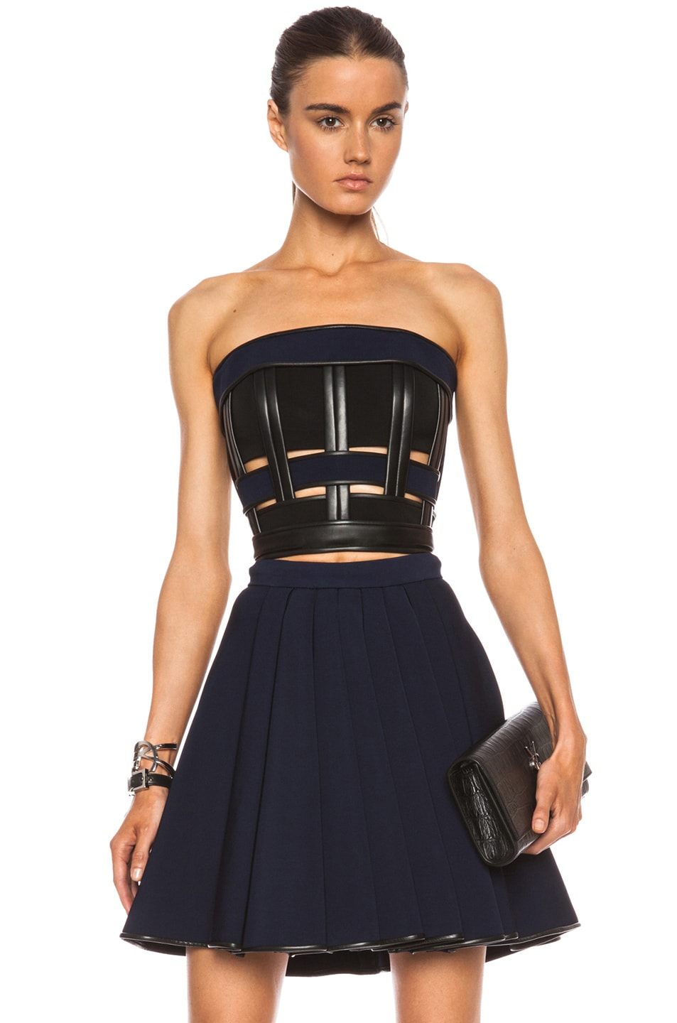 Image 1 of David Koma Cropped Jersey Viscose-Blend Bustier in Black & Blue