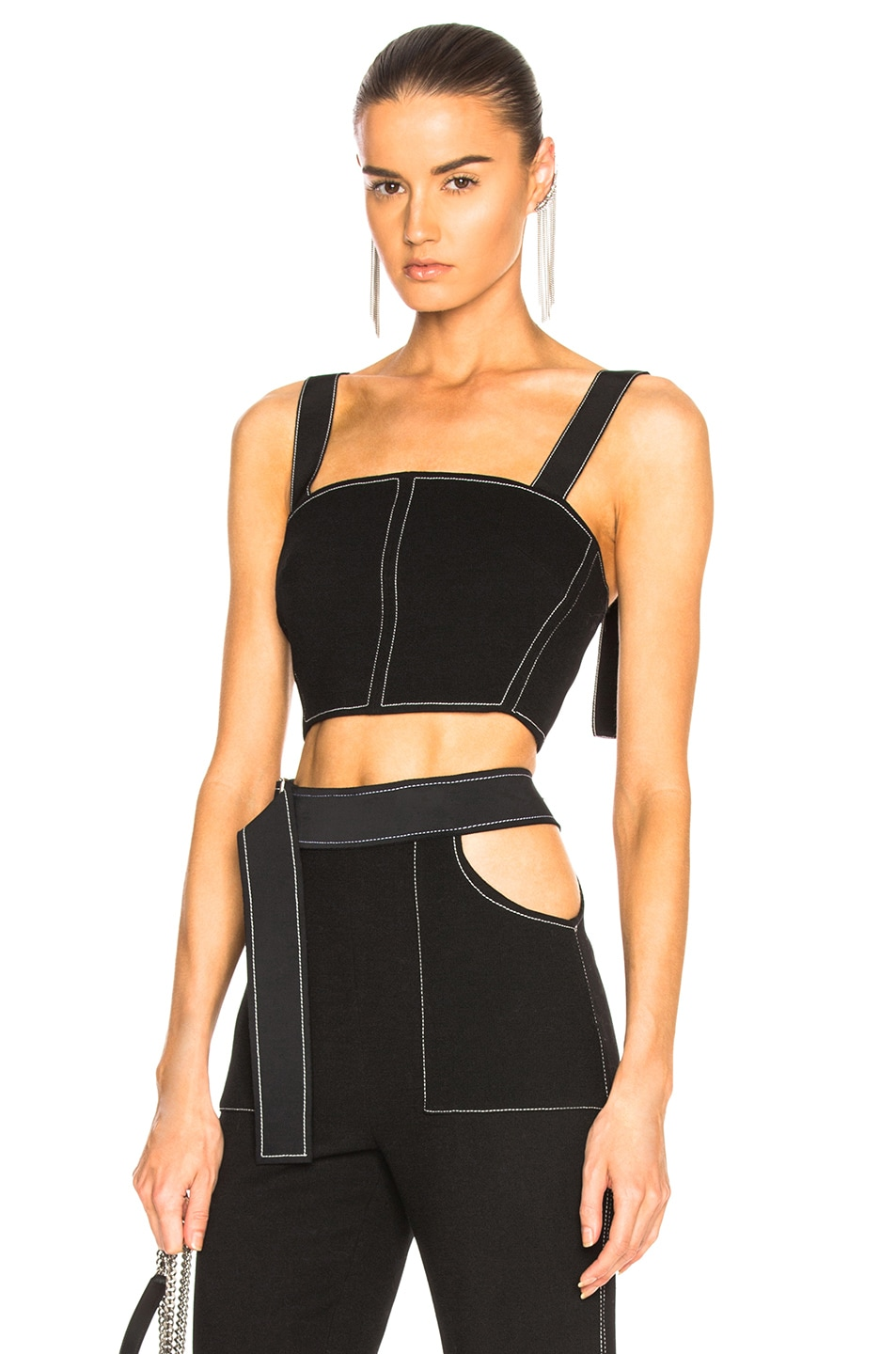 Image 1 of David Koma Contrast Stitching Bustier in Black & White