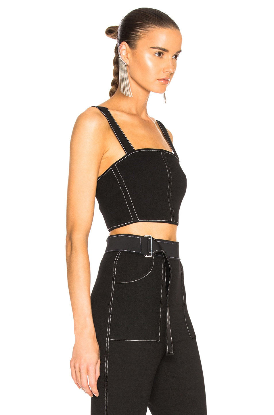 Image 2 of David Koma Contrast Stitching Bustier in Black & White