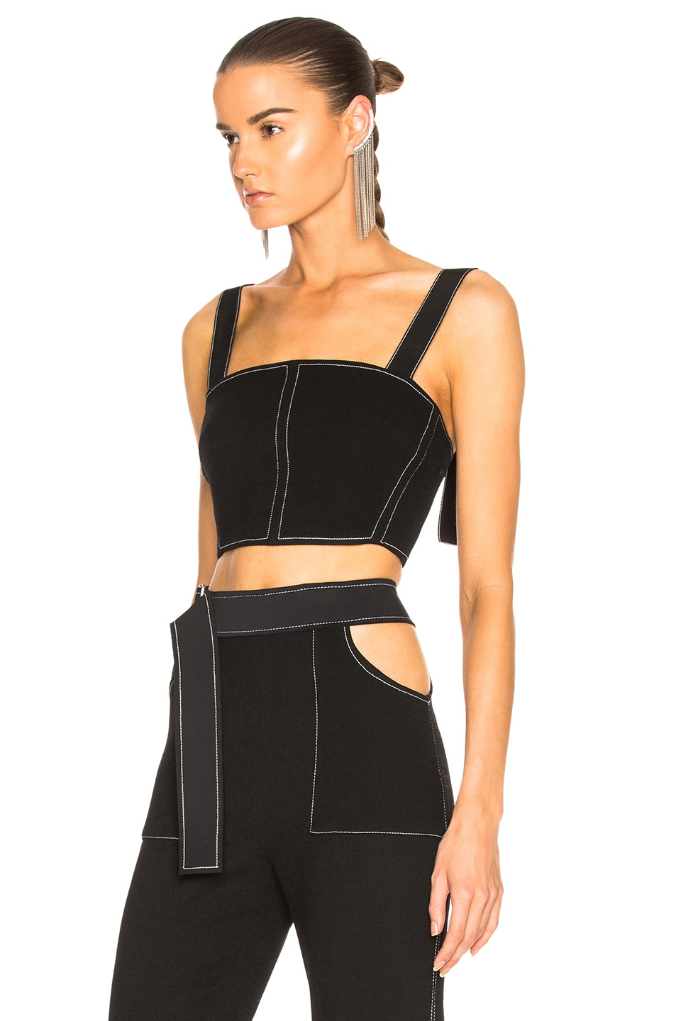 Image 3 of David Koma Contrast Stitching Bustier in Black & White