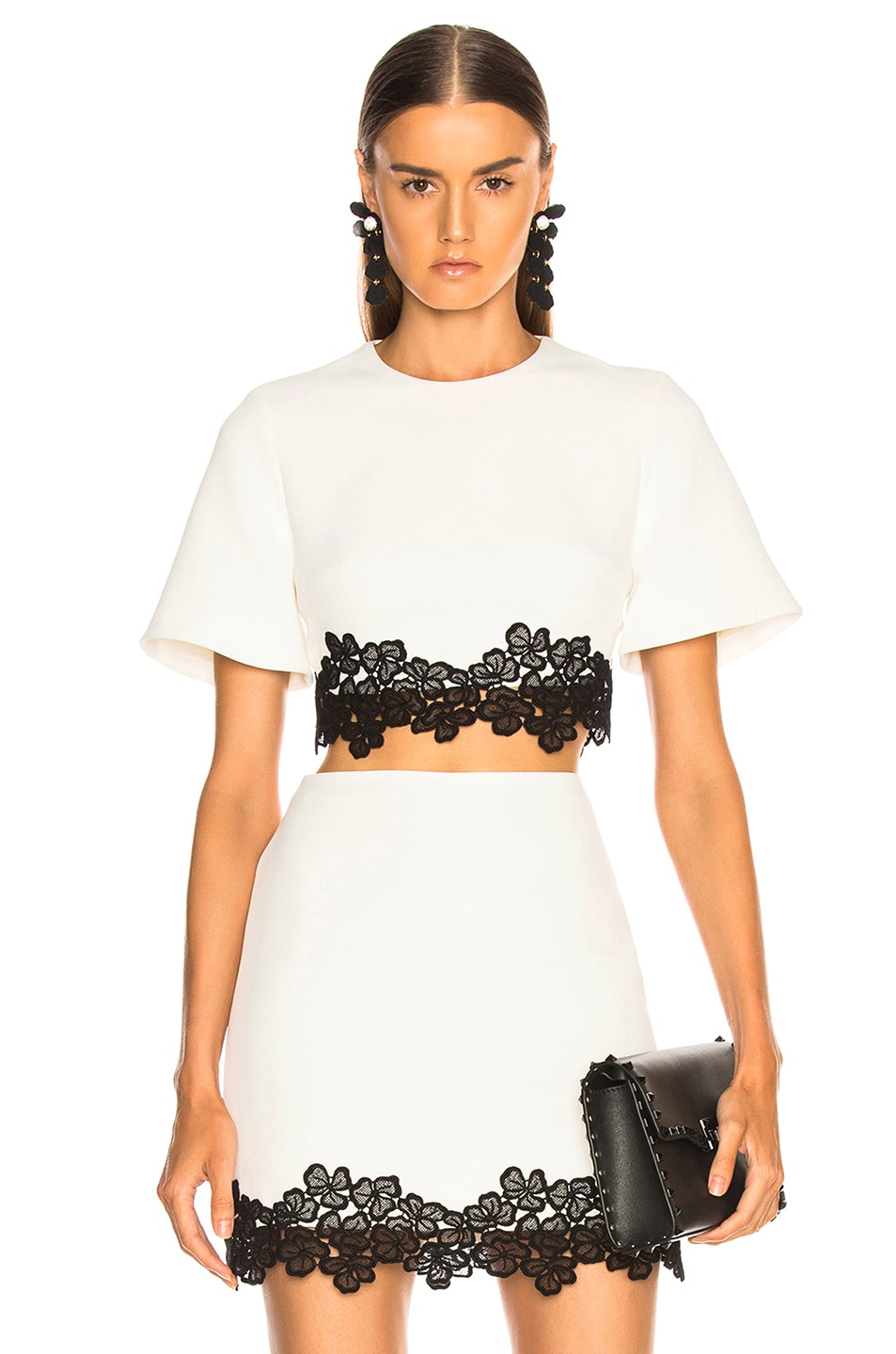 Image 1 of David Koma Lace Trim Cropped Top in White & Black