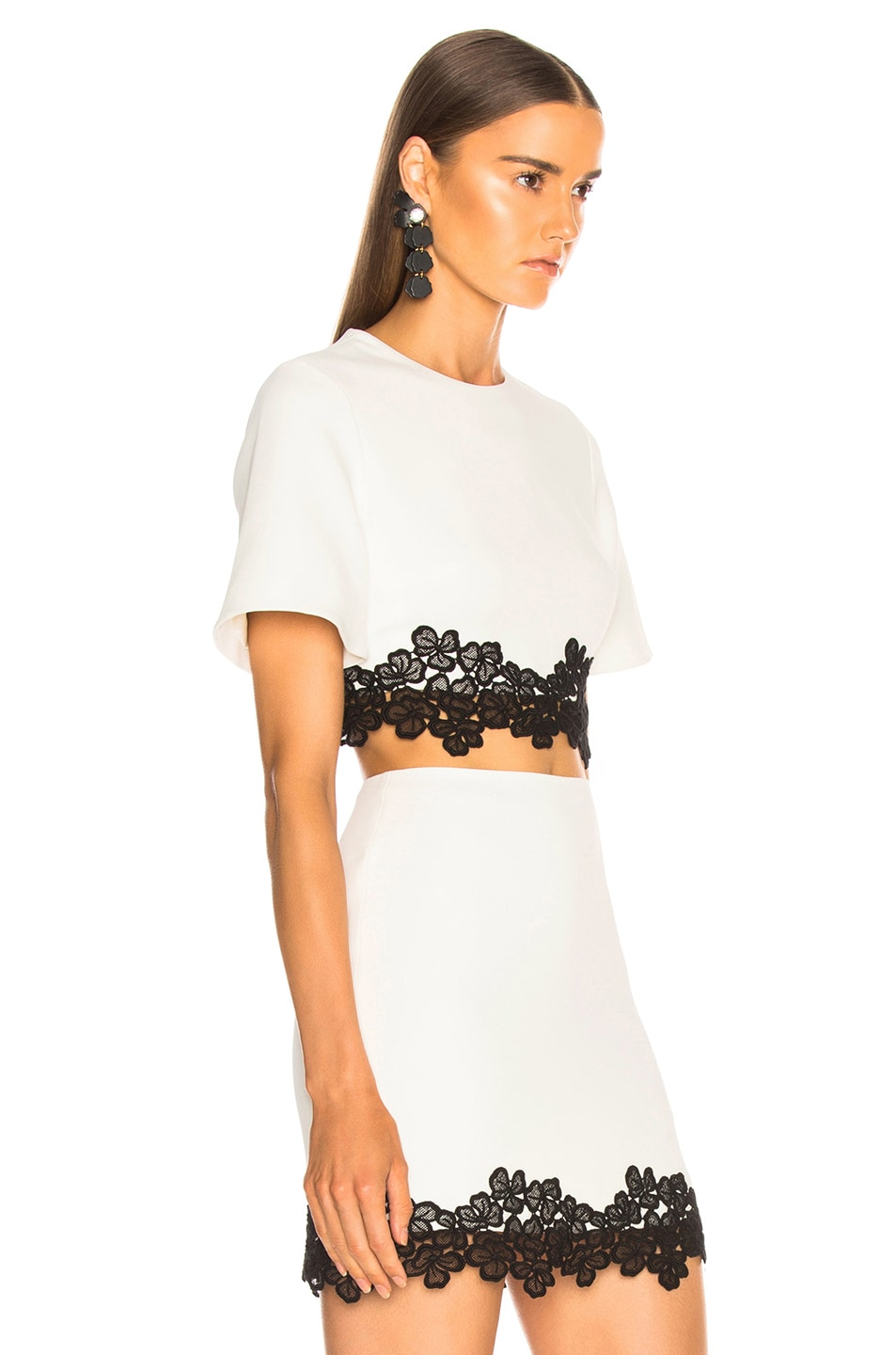 Image 2 of David Koma Lace Trim Cropped Top in White & Black