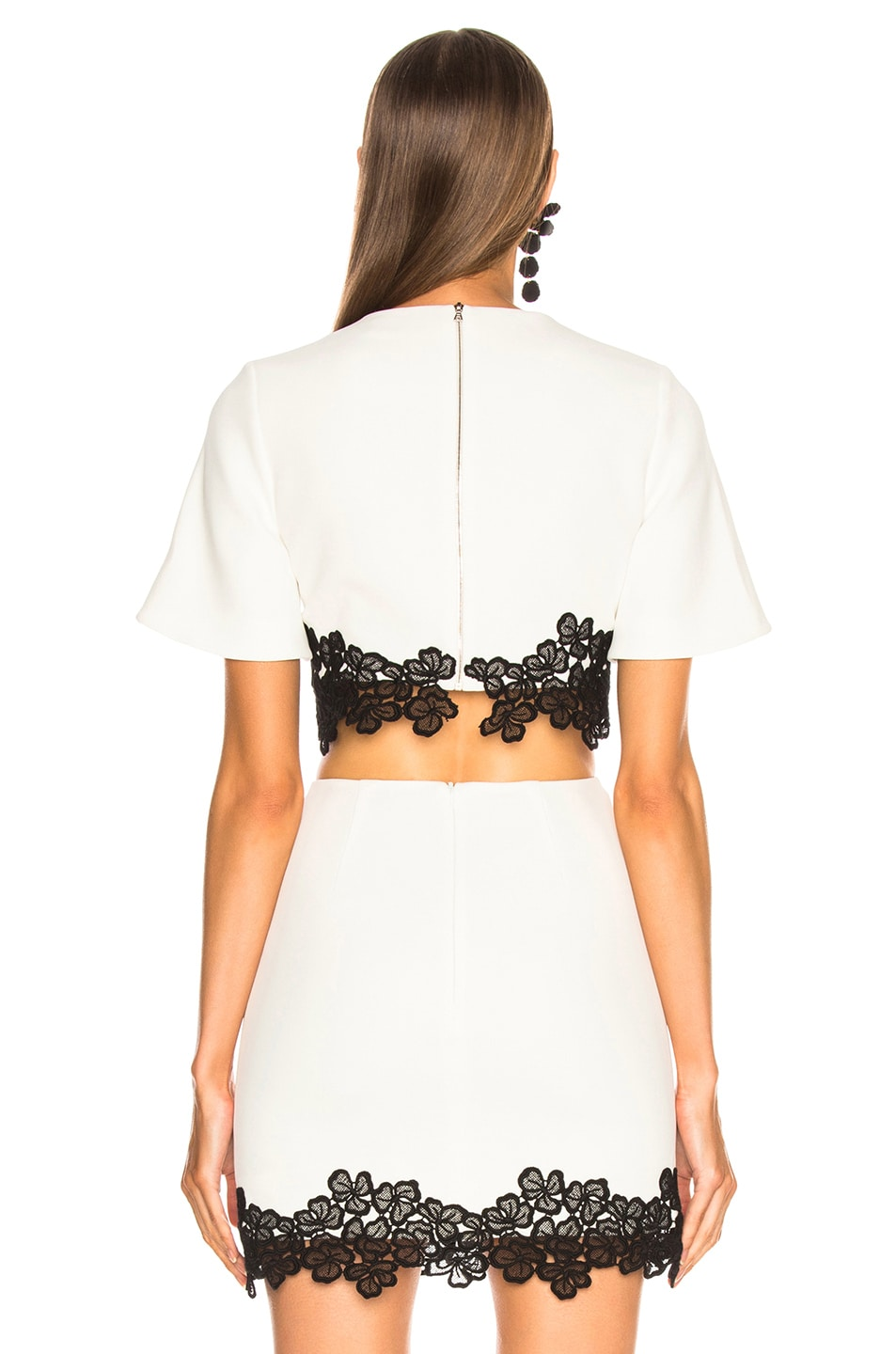 Image 3 of David Koma Lace Trim Cropped Top in White & Black