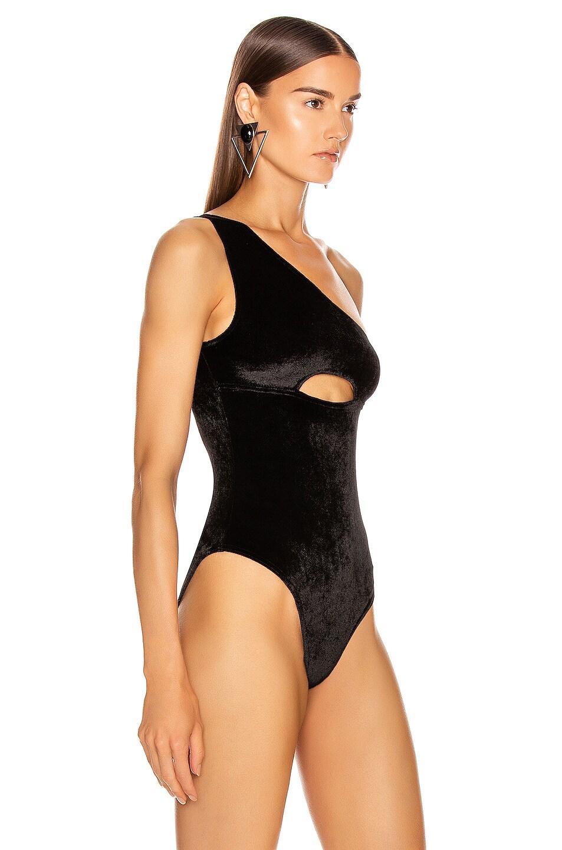 Image 3 of David Koma Bra Cutout One Shoulder Velvet Bodysuit in Black