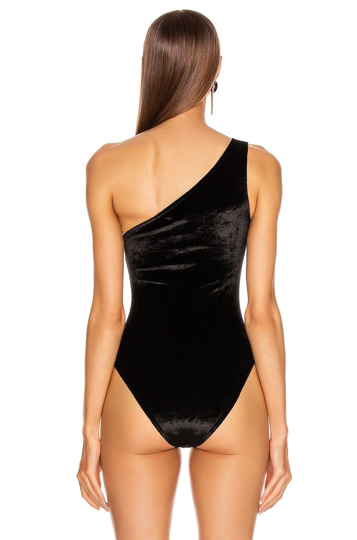 Image 5 of David Koma Bra Cutout One Shoulder Velvet Bodysuit in Black