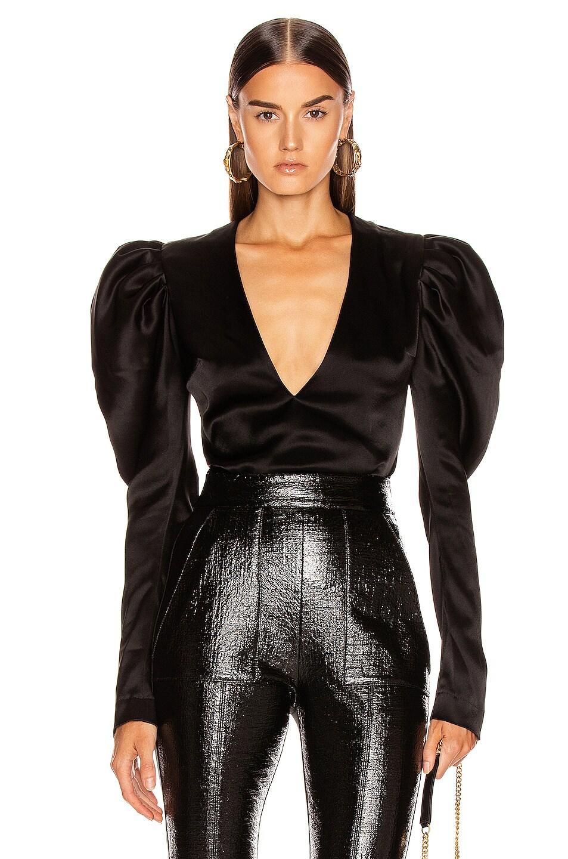 Image 1 of David Koma Puff Sleeve Bodysuit in Black