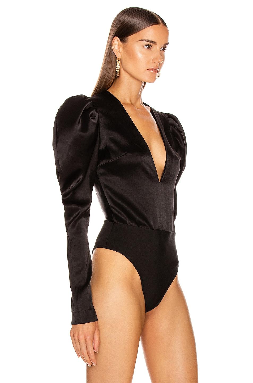 Image 3 of David Koma Puff Sleeve Bodysuit in Black
