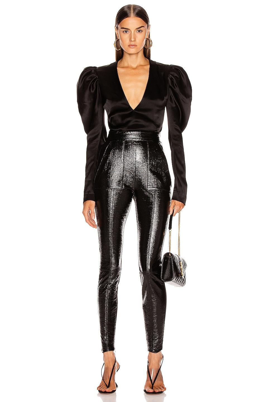 Image 5 of David Koma Puff Sleeve Bodysuit in Black