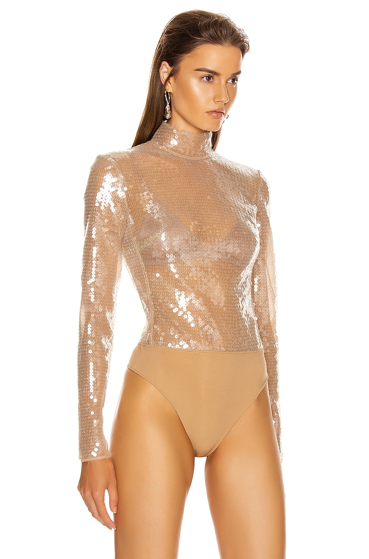 Image 3 of David Koma Sequins Bodysuit in Beige