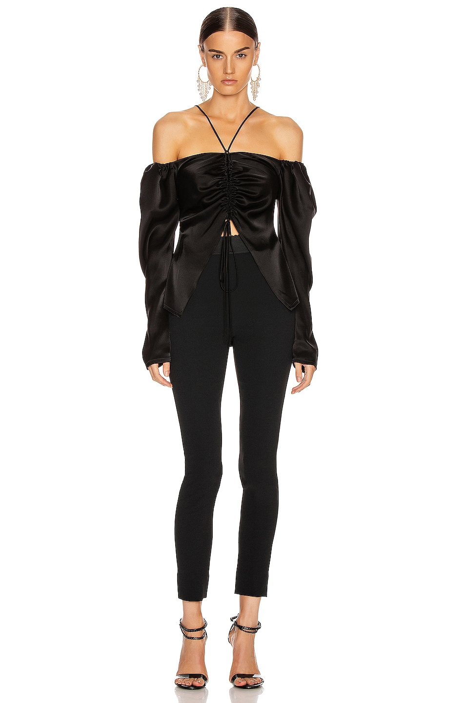 Image 4 of David Koma Off Shoulder Ruched Open Top in Black